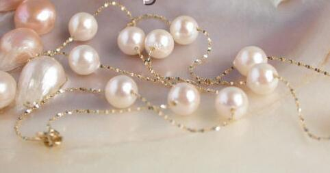 Free shipping 14 Yellow Gold Chain round AKOYA white salt water pearls necklace