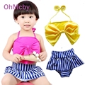 Fashion Baby Bow Striped Swimsuit Tankini Cute Swimwear Bathing Two Pieces Kids Girls Beachwear Lovely Bikini Swimming Wear