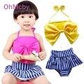 Moda Bebê Bow Listrado Maiô Tankini Swimwear Bonito Maiô Duas Peças Crianças Beachwear Meninas Linda de Biquíni Natação Desgaste