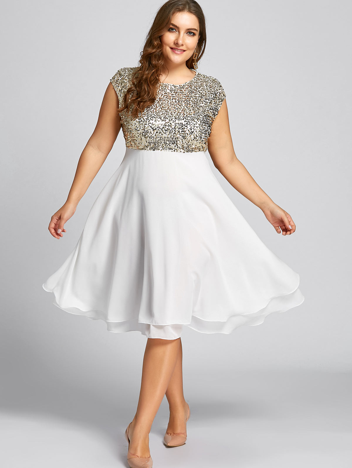3714cff077340 Kenancy Plus Size Flounce Sequin Sparkly Cocktail Vintage Party Dress O  Neck Sleeveless Retro Dress Elegant Feminino Vestidos