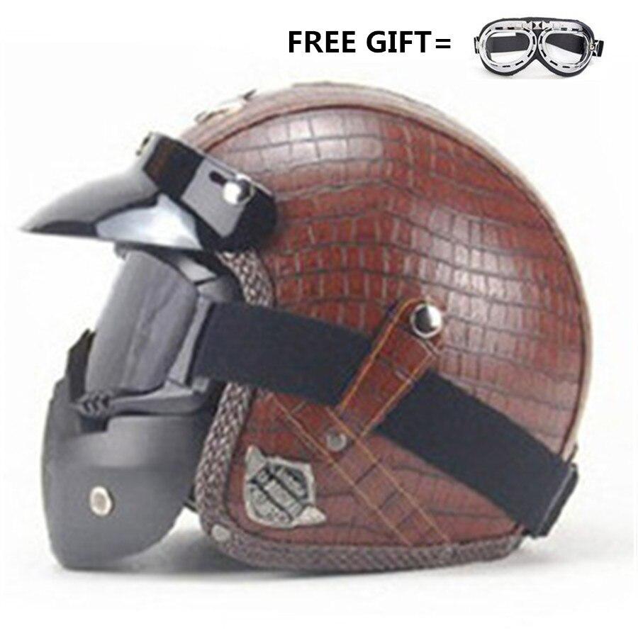 Casque de moto Vintage visage ouvert casques Harley en cuir PU casque de vélo moto Chopper 3/4 avec masque de lunettes L (59-60 cm)