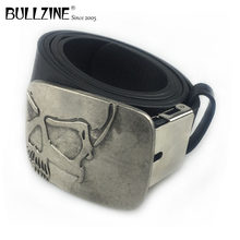The Bullzine heavy skull belt buckle with antique silver finish with PU belt and connecting clasp FP-03698