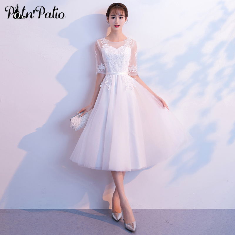 Elegant White Tulle   Prom     Dress   with Half-sleeve Sexy Lace Applique See Through Long Evening Party   Dress   for Women Plus Size 2019