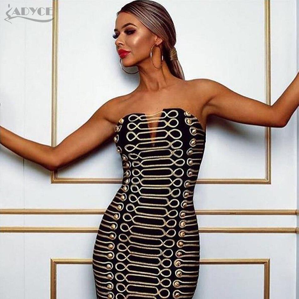 Adyce 2019 새로운 여성 bodycon 파티 드레스 vestidos 럭셔리 블랙 strapless 버튼 중공업 연예인 런웨이 드레스-에서드레스부터 여성 의류 의  그룹 1