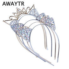 AWAYTR Festival Headband Princess Crown Crystal Pierced Cat Ears Hair Hoop Women Hair Accessories Hairbands Headdress for Girls