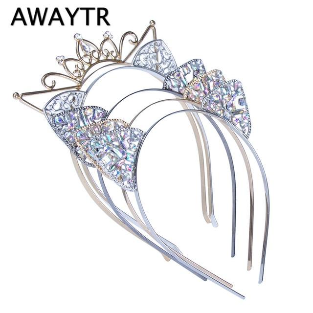 AWAYTR Festival bandeau princesse couronne cristal percé chat oreilles cheveux cerceau femmes cheveux accessoires bandeaux coiffure pour filles