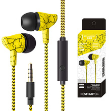 In-Ear Earbuds Headphones Nylon Braided Crack Earphone Stereo Bass Headset with Microphone for Cellphone MP3 MP4 sound intone 852 2015 new stereo on ear headphones with in line microphone and remote control for smart phones ipad ipod mp3 mp4