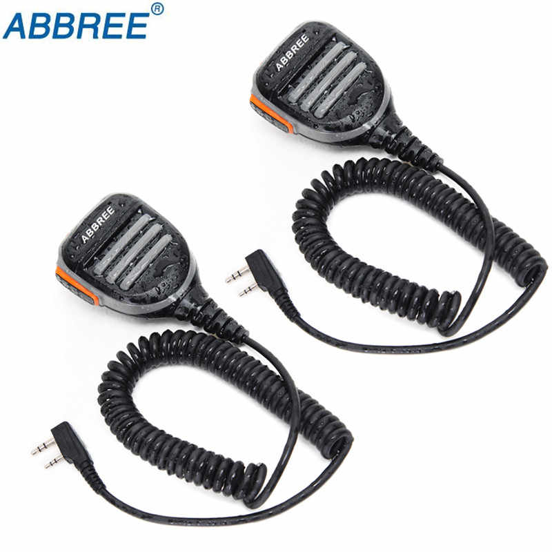 2 Pcs Abbree AR-780 2 Pin Ptt Afstandsbediening Waterdichte Luidspreker Microfoon Voor Radio Kenwood Tyt Baofeng Walkie Talkie TH-UV8000D MD-380 radio