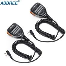 2PCS Abbree AR 780 2 Pin PTT Remote Waterproof Speaker Mic for Radio Kenwood TYT Baofeng Walkie Talkie TH UV8000D MD 380 Radio