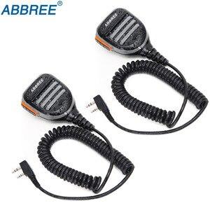 Image 1 - Walkie talkie abbree AR 780 à prova d água, 2 peças, microfone com 2 pinos ptt, rádio kenwood, tyt baofeng, 2 peças rádio