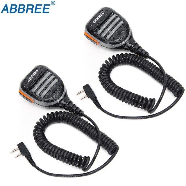 Walkie talkie abbree AR 780 à prova d água, 2 peças, microfone com 2 pinos ptt, rádio kenwood, tyt baofeng, 2 peças rádio