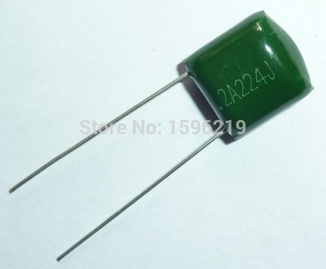 10pcs Mylar Film Capacitor 100V 2A224J 0.22uF 220nF 2A224 5% Polyester Film Capacitor