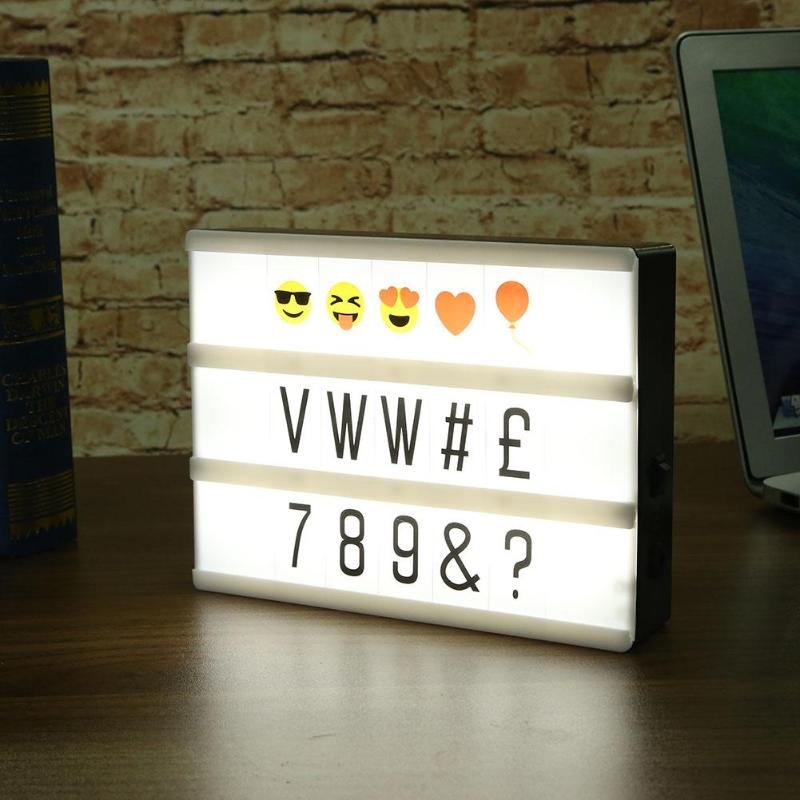 A5 Size LED Magnetic Light Box DIY Letters Number Combination Night Lamp Set USB Cinema Light box Home Holiday Decoration