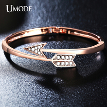 UMODE Brand Rose Gold Color Austrian Rhinestone Twisted Arrow Shaped Fashion Bangle Bracelets Femme For Women
