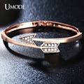 UMODE  Rose Gold Plated Austrian Rhinestone Twisted Arrow Shaped Fashion Bangle Bracelets Femme For Women Jewelry AUB0058A