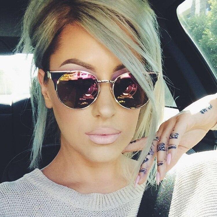 346f9e17ee6d 2016 Korean Fashion Brand Womens Sun Glasses Half Frame Vintage Cat Eye  Sunglasses Pink Shades Ladies Sunglasses Oculo de sol-in Sunglasses from  Apparel ...