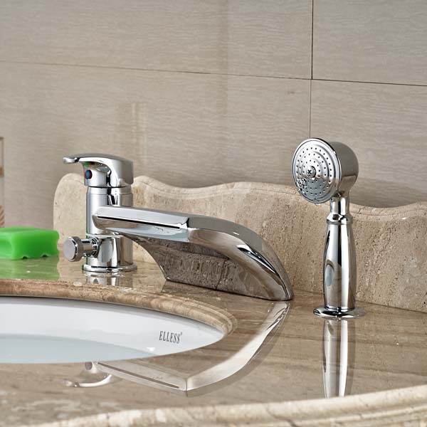 spout single lever bathroom tub faucet with hand sprayer deck mounted