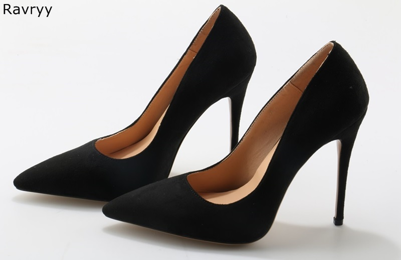 Sexy Pumps High-Heel Dress-Shoes Pointed-Toe Black Woman Thin Fits Suede Ol-Out Female