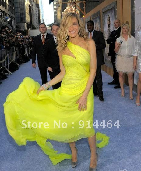 425101d5d79 Sarah Jessica Parker Yellow One Shoulder Evening Prom Dress Sex and The  City Celebrity Dress-in Celebrity-Inspired Dresses from Weddings   Events  on ...