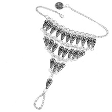 Gypsy Antique Silver Turkish Carved Drop Statement Anklet Ankle Bracelet Beach Foot Jewelry Ethnic Tribal Jewelry