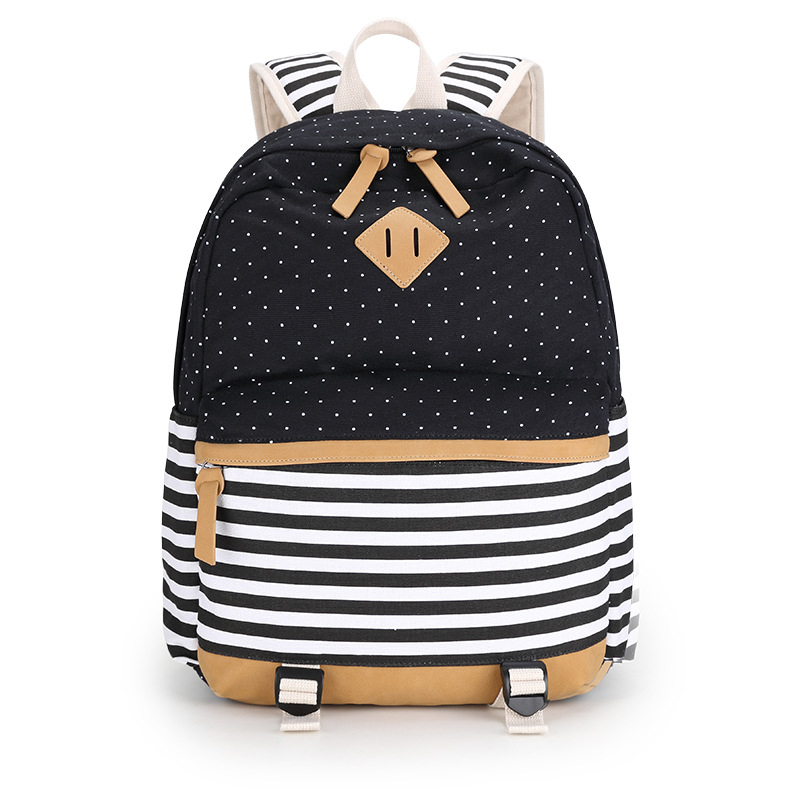 b2b43d2098e9 Fashion School Bags Backpack Women High Quality Canvas Vintage Floral Flower  Dot Striped Printing Backpacks For Teenage Girls