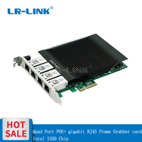 LR LINK 2004PT POE Quad Port POE+ gigabit Ethernet RJ45 Frame Grabber Industrial board PCI Express Video capture card Intel I350