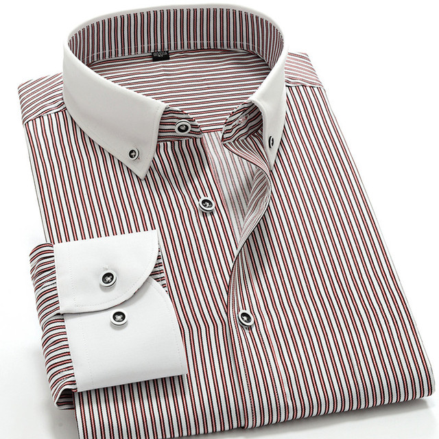2016 Fashion Striped Men Shirts With Long Sleeves High Collar Slim Business Shirts Mens Designer Clothes