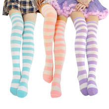 Kawaii Anime Jepang Overknee Cosplay Stocking Meias Lolita Celana Ketat Paha Tinggi Bergaris Stocking Biru & Putih Dijual(China)