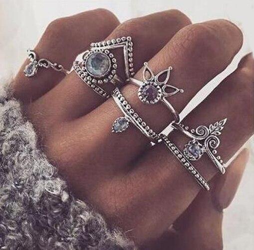 8 sztuk/zestaw kobiety dziewczyny w stylu Vintage Rhinestne kryształowy złoty metalowy pierścień zestaw plaża Boho palec serdeczny zestaw biżuteria cena hurtowa