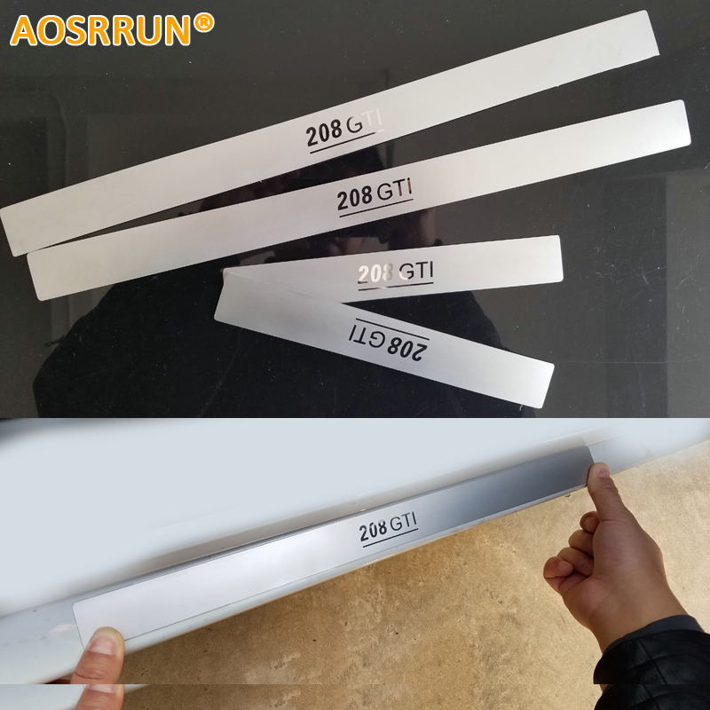 AOSRRUN Car accessories Stainless Steel Side Door Scuff Plate Door Sill Trim Fit For <font><b>Peugeot</b></font> <font><b>208</b></font> 2014 2015 2013 2016 <font><b>2017</b></font> 2018 image
