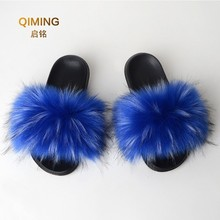 Faux Fur Slides Women Furry Fox Fur Sandals For Woman Female Indoor Shoes Fluffy Plush With Fur Slippers Flip Flops Size 36-45 faux fur overlay slippers with rabbit ears