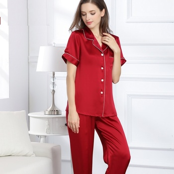 Women's  100% Silk Stain Solid Red Pajamas Sets Summer Spring 2019 Woman Silk Sleepwear Homewear Two Piece  Shirt and Pants Sets