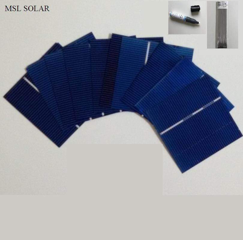 50Pcs Solar cells 0.43W 0.5V DIY Solar panel Photovoltaic Solar cell DIY solar battery charger + Solder Tabbing wire & Flux pen
