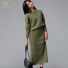 H Han Queen New Arrive Korean Style O-neck Pullovers Sweater + Knitted  Elastic Twist Skirts Women 2018 Winter 2 Pieces Suits Set 05b0515cbf7e