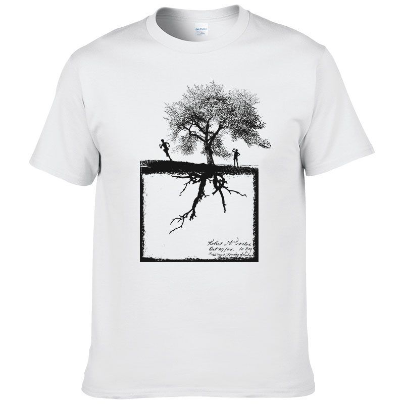 summer Personalized men's   t  -  shirt   big tree and figure printed 100% cotton tops   t     shirt   cool tees man #181