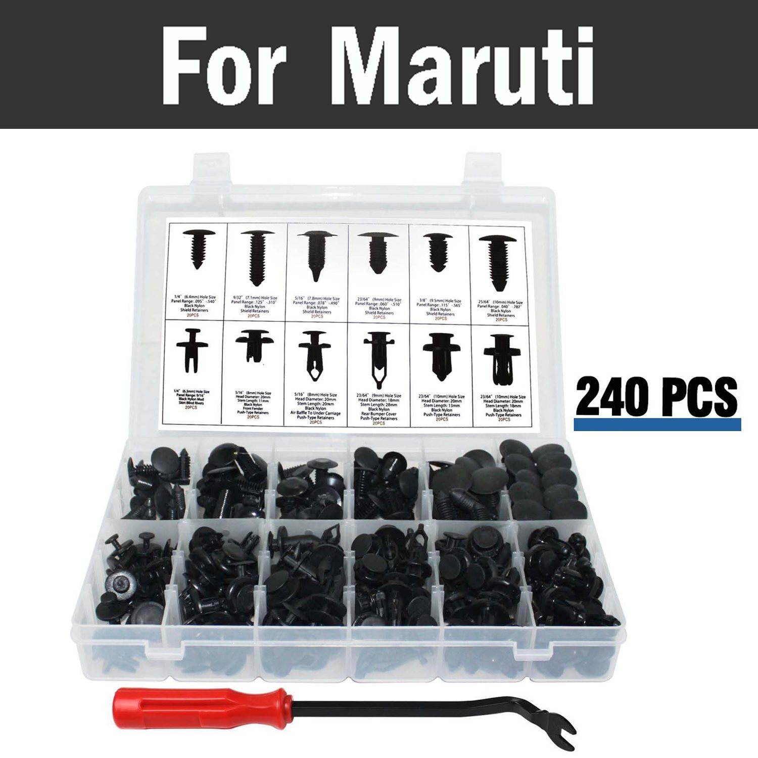 New 240pcs Car Push Retainer Kit Fits Panel Body Assortment Set Storage Case Rivets For Maruti 800 Alto Baleno Esteem Gypsy Zen