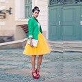Novas Mulheres Da Moda Saias Tutu de Tule Midi Saia Das Mulheres De Alta rua Elegante Na Altura Do Joelho Amarelo Tutu Saia Saias femininas 50 cm longo