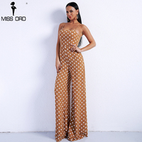 Missord 2018 Sexy Spring And Summer Off Shoulder Dot Rompers Harness Backless Overalls Lace Up Jumpsuit