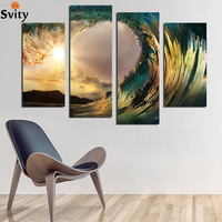 NEW Blue Ocean Seaview Modern Wall Art Painting Canvas Printed High Quality 4 Piece Set Sea Water Painting Wall Picture F18843