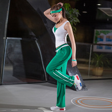 Summer Women Fitness Suits Elastic Sport Sets Girls Yoga Dancing Running Gym Three-piece Sets (Vest + Bra + Loose Pants) M-XXL
