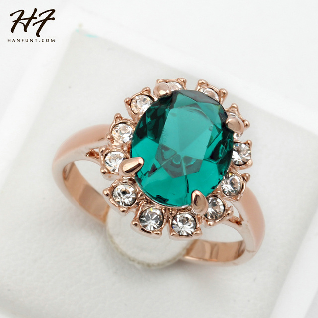Green Rhinestone Ring for Women Rose Gold Color Crystal Fashion Anniversary Jewe