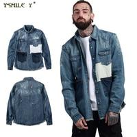 Street Fashion Men S Washing Process Broken Holes Denim Jacket Japanese Retro Hip Hop Patch Frayed