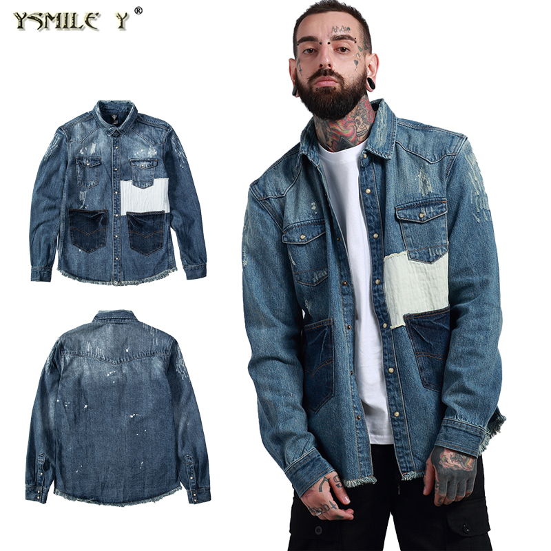 Street Fashion Men S Washing Process Broken Holes Denim Jacket Japanese Retro Hip Hop Patch Frayed