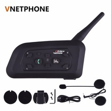 1 unids V6 1200 M Wireless Bluetooth de La Motocicleta Del Intercomunicador Del Casco de 6 Riders Interphone Soporte de Auriculares Mp3 Music GPS