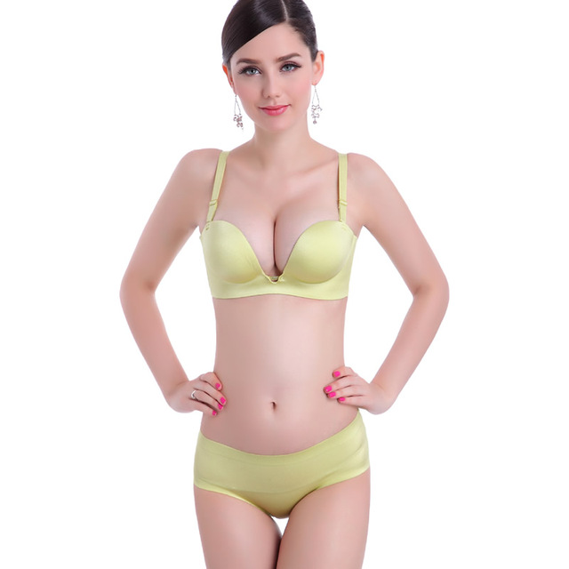 ce981ab872 High Quality Top brand sexy One-Piece SeamLess Women's Bras Sets Push Up Big  Boobs brassiere lingerie set A B C Cup 1/2 cup