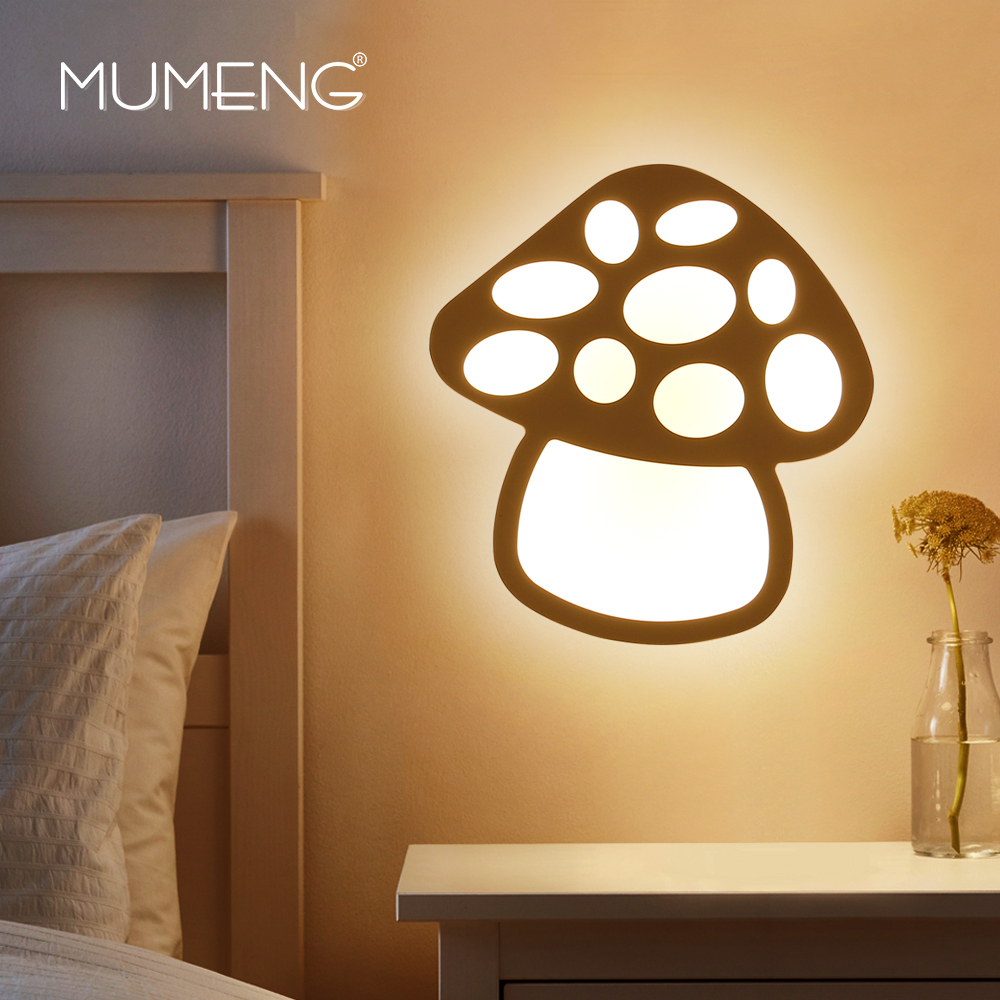 MUMENG Modern Mushroom LED Shape Wall Lamp Creative Children Bedroom Bedside 12w Lamp Arylic Wall Sconce  Indoor Lighting коннектор агат 2 5 см 1 шт