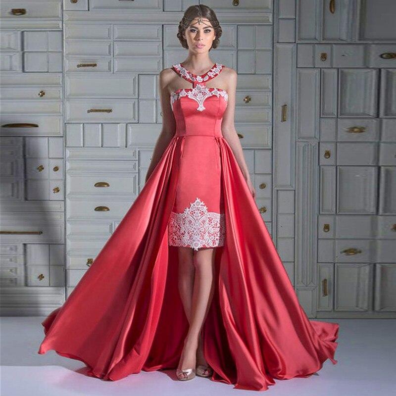 New Women Formal Gown Arrival Dubai Caftan Coral Color Applique Lace