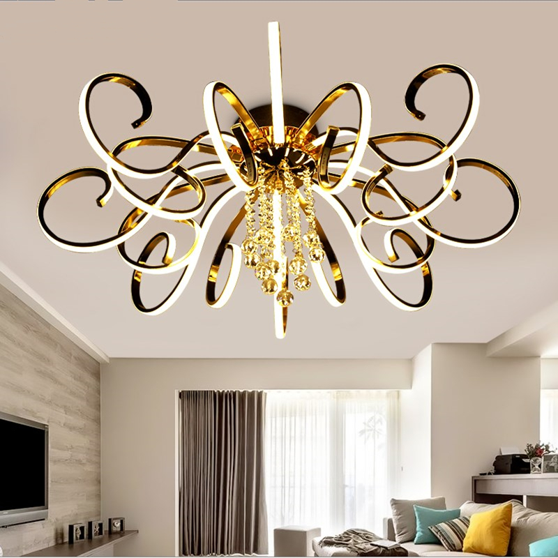 Modern Irregular Circle Stretchable Aluminum Luster Two-color Patch Light Source Living Room Restaurant Chandelier A Complete Range Of Specifications Lights & Lighting