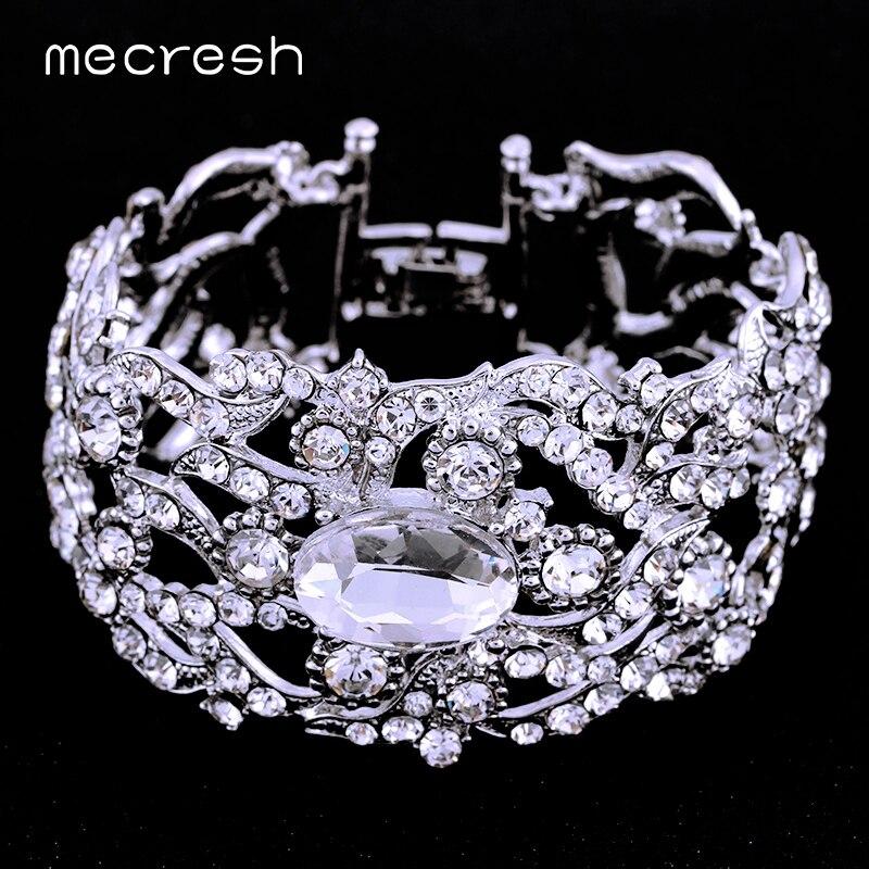 Prix pour Mecresh Argent et Or-couleur Cristal De Mariage Bracelet & Bracelet pour les Femmes Strass 2017 Mode Bijoux SL093