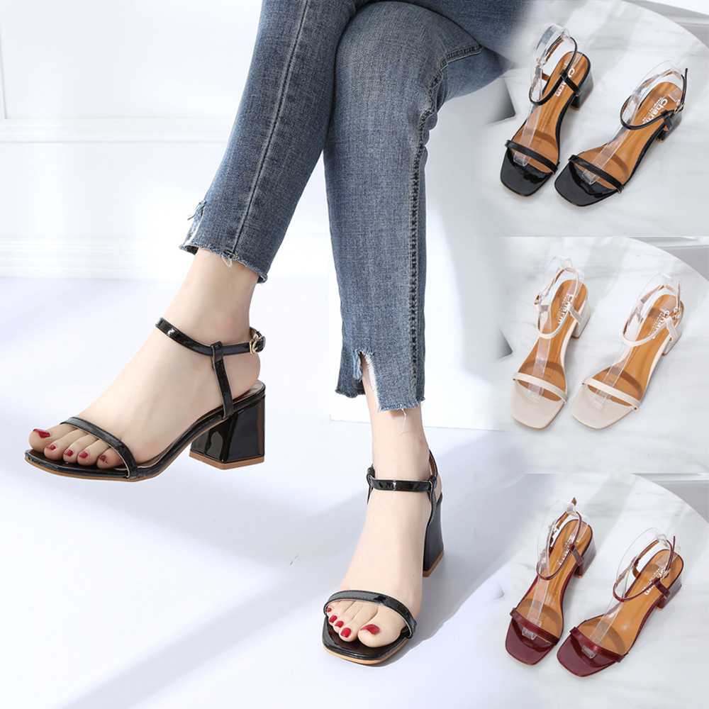 210e954f962 women s sandals with heelsWomen Fashion Solid Color Square Toe Squar Heel  Rome High Heeled Shoes NFA-in High Heels from Shoes on Aliexpress.com
